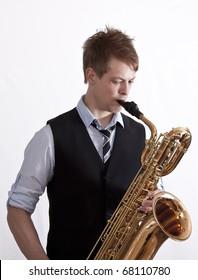 Jazz player playing baritone saxophone