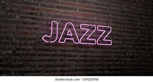 JAZZ -Realistic Neon Sign on Brick Wall background - 3D rendered royalty free stock image. Can be used for online banner ads and direct mailers.