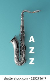 Jazz and Saxophone on color background