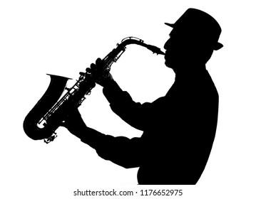 jazz saxophonist silhouette on white