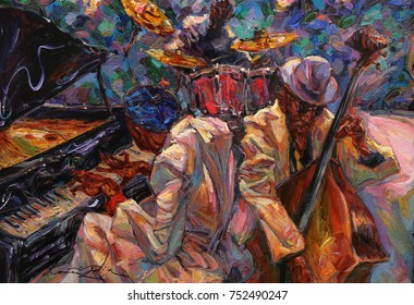 "jazz singer, jazz club, jazz band,oil painting, artist Roman Nogin, series ""Sounds of Jazz."" sale original - contact facebook"
