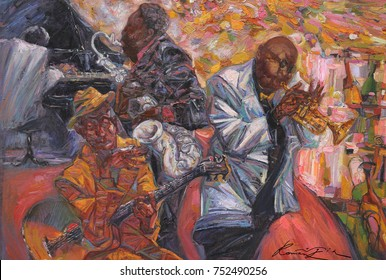 """jazz singer, jazz club, jazz band,oil painting, artist Roman Nogin,looking for partnerships with artdillers series """"Sounds of Jazz.""""sale original - contact facebook"""