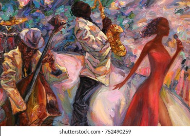 """jazz singer, jazz club, jazz band,oil painting, artist Roman Nogin, series """"Sounds of Jazz.""""looking for partnerships with artdillers sale original - contact facebook"""