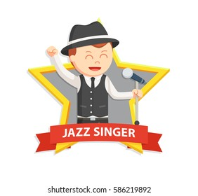 jazz singer man in star emblem