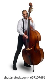 784b58ac41 Jazzman with double bass. Vertical portrait on white background. Skillful  man playing a pizzicato