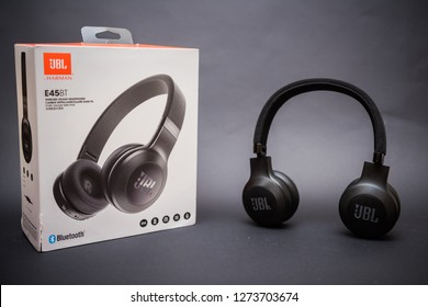 JBL E45BT headphones resting on a black background and it's box. January 1st, 2019. Cairo-Egypt.