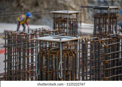 j-bolt and steel bar for concrete column. under construction