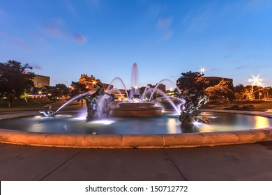 J.C. Nichols Memorial Fountain by the Kansas City Country Club Plaza is a popular tourist area