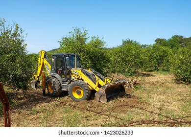 JCB Digger working in front of oranges trees plantation  in Kemer area, Turkey.May 2019