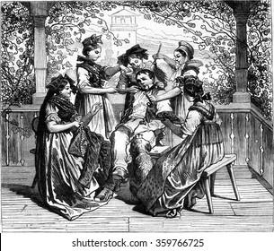 Jean du Creux Cousins, vintage engraved illustration. Magasin Pittoresque 1877.