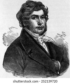 Jean Francois Champollion (1790-1832), considered the founder of Egyptology for establishing the principle of deciphering hieroglyphis using the Rosetta stone, engraving from 1892
