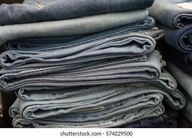Jean jacket sold in the market, Jean jacket close up