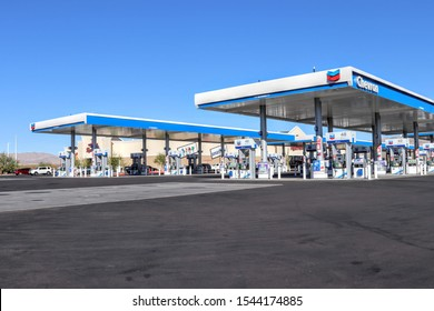 Jean, Nevada USA October 26,2019  The 96 pumps located at this gas station in Jean, Nevada outside Las Vegas is the largest chevron station in the world