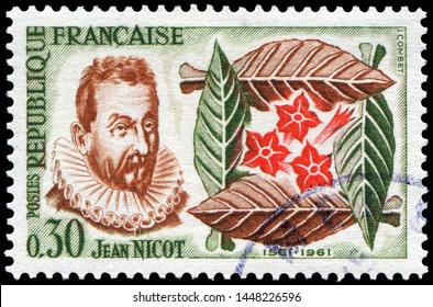 Jean Nicot(1530-1604), French diplomat and scholar, he was the first to bring the tobacco to France. One of them was the snuff tobacco. Stamp issued by French Post with Jan Nicquet portrait by mistake