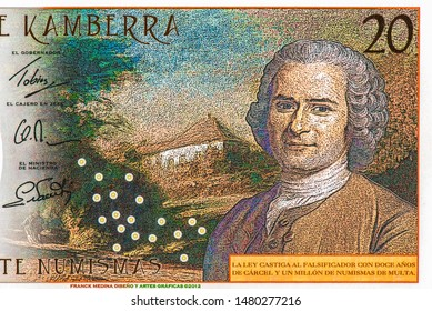 Jean-Jacques Rousseau on 20 Numismas Canberra 2019 banknotes. Colbert-Jacques Augusto, Political Philosophy. Fancy polymer money. Applied Currency Concepts. Banknotes Collection