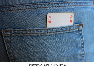 Jeans with ace in the back pocket