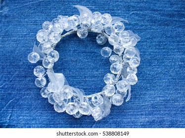 Jeans background. Denim jeans texture or denim jeans background. glass. Glass wreath