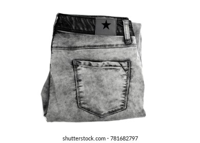 jeans dark gray close rear view is isolated