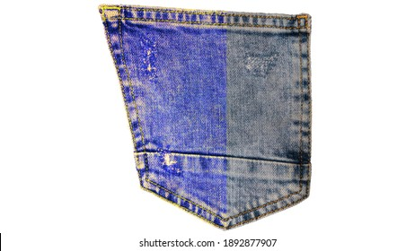 Jeans, denim back pocket isolated on white background, jeans icon