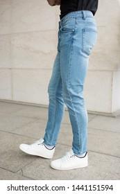 Jeans details, man wearing jeans in the street