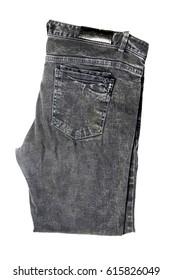 jeans folded isolated on white background