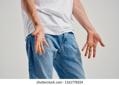 jeans hands light tank top