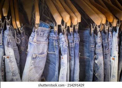 Jeans hanging in the retail store