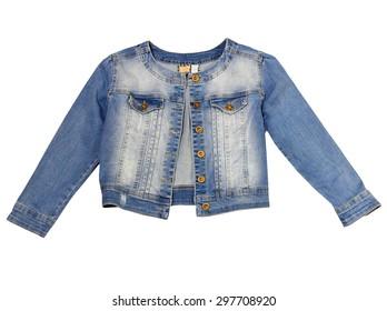 Jeans jacket female isolated on white.