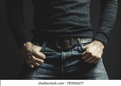jeans, jacket, men's hands