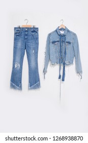 Jeans jacket and shorts on a hanger