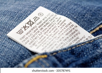Jeans laundry care label, selective focus