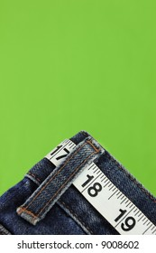 Jeans with measuring tape belt