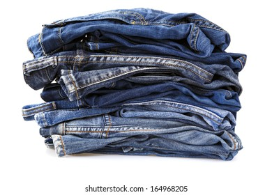 jeans over white background