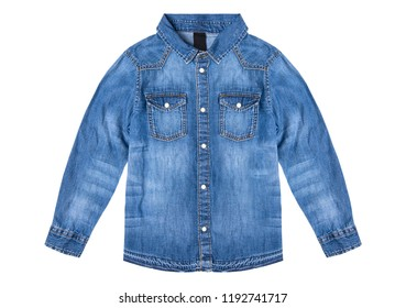 Jeans shirt isolated on white background