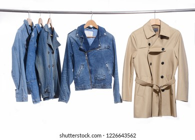 Jeans shirt with jeans jacket with coat on hanger