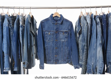 Jeans shirt with jeans jacket on hanger