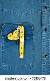 Jeans shirt pocket with cm ruler