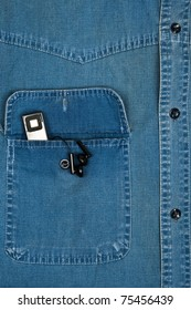 Jeans shirt pocket with mp3 player