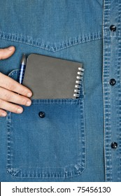 Jeans shirt pocket with notepad