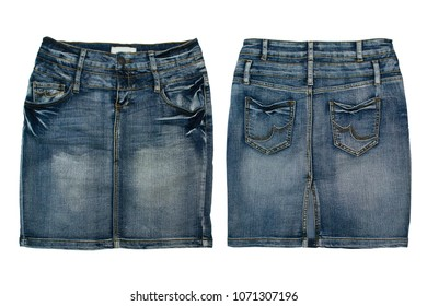 jeans skirt on a white background