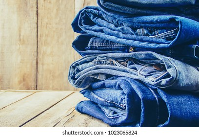 Jeans. Stylish clothes. Selective focus.