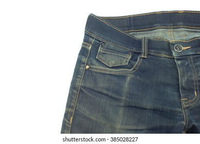 Jeans tiny pocket. Isolated. Copy space.