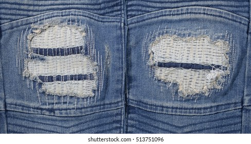 Jeans torn denim texture for background