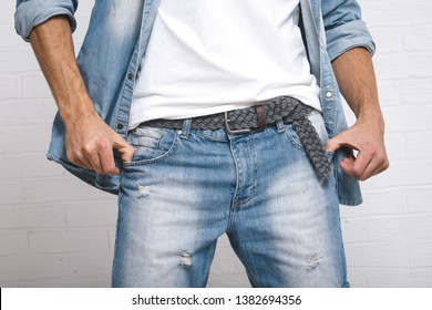 jeans wear close up on guy