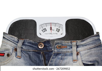 Jeans wrapped around bathroom scales