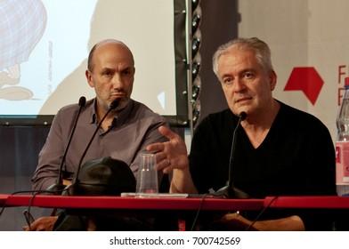 Jean-Yves Ferri (text) and Conrad Didier (art), Asterix comic artists, at press conference at the Frankfurt Bookfair / Buchmesse Frankfurt 2013 in Frankfurt am Main, Germany