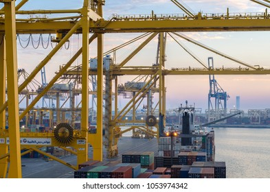 Jebel Ali, United Arab Emirates - March 16: Container terminal in port of Jebel Ali on March 16, 2018 in Jebel Ali, United Arab Emirates.