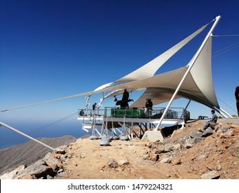 Jebel Jais, UAE - June 06, 2019: Jebel Jais Flight - Toroverde, at 1,680 meters in Jebel Jais, Ras Al Khaimah, UAE, is the world's longest zipline at 2.83km, as certified by Guinness World Records.