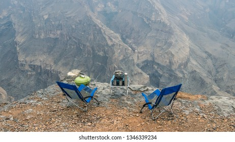 Jebel Shams / Oman - 10 10 2018: Camping on the cliff