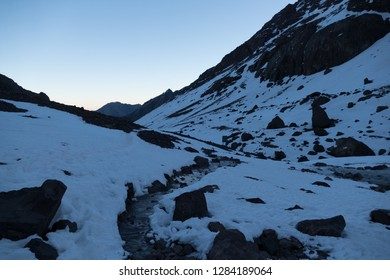 Jebel Toubkal winter ascent highest summit in northern africa in high atlas mountains in morocco